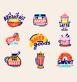 cute set for bakery shop or coffee house goods vector image