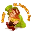 Dwarf embraced pot of gold Patricks Day vector image