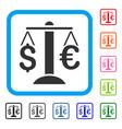 euro dollar balance framed icon vector image vector image