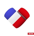 Flag icon in the form of heart I love France vector image