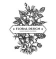 floral bouquet design with black and white dog vector image vector image