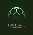 Football championship logo soccer ball dark green