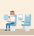 funny red head nerd sitting on plane and vector image