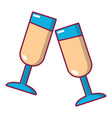glasses of champagne icon cartoon style vector image