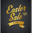 golden easter sale is here text with ribbon on vector image vector image