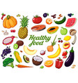 hand drawn fruits and vegetables background vector image