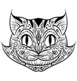 hand drawn outline doodle cat head zentangle vector image vector image