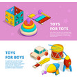 horizontal banners with of children vector image vector image