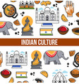 indian culture symbols and india landmarks vector image vector image