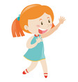 little girl in blue smiling vector image vector image