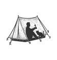 man and cat in camping tent sketch vector image vector image