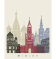moscow skyline poster vector image vector image