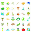nature biology icons set cartoon style vector image vector image
