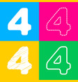 number 4 sign design template element four styles vector image vector image