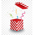 open red box with colorful confetti vector image