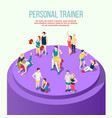 personal trainer isometric composition vector image vector image