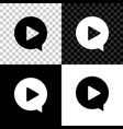 play in circle icon isolated on black white and vector image vector image