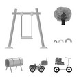 playground entertainment monochrome icons in set vector image vector image
