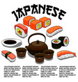poster for japanese restaurant or sushi bar vector image