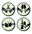 set hands with drink vector image vector image