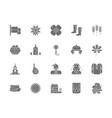 set of ukrainian culture gray icons mace wheat vector image