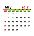 simple calendar 2017 year may month vector image vector image
