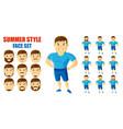 summer style man face set cartoon character vector image vector image