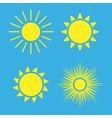 Sun icons set blue Collection yellow vector image vector image