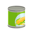 sweet corn in aluminum can on vector image