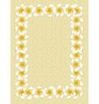 White frangipani flowers frame on sand vector image vector image