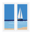 Window seascape vector image