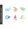 wings and birds logos vector image vector image