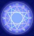 zodiac signs set on shiny magic circle vector image
