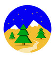 winter mountains landscape with pine forest vector image