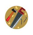 symbols of the carpenter profession carpentry vector image
