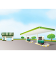 a house and a gas station vector image vector image
