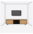 a living room with a desk and television wall vector image