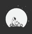 astronaut rides on a motorcycle vector image vector image