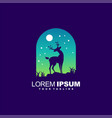 awesome deer night logo design vector image vector image