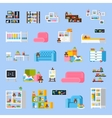 Baby Room Furniture Flat Decorative Icons vector image