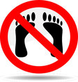 Ban foot print vector image vector image