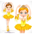 Beautiful little ballerina girl in yellow dress vector image vector image
