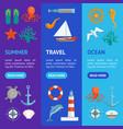 cartoon color sea banner vecrtical set vector image vector image