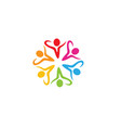 colorful people students team logo vector image vector image