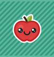 cute kawaii smiling red apple cartoon design icon vector image vector image