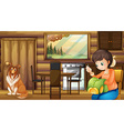 Dog and house housewife indoors vector image vector image
