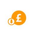 down stock market business logo icon design vector image vector image