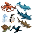 Fish Dolphin seal and other members of deep sea vector image