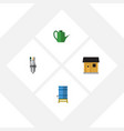 flat icon dacha set of pump stabling container vector image vector image
