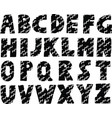 hand drawn black and white alphabet vector image